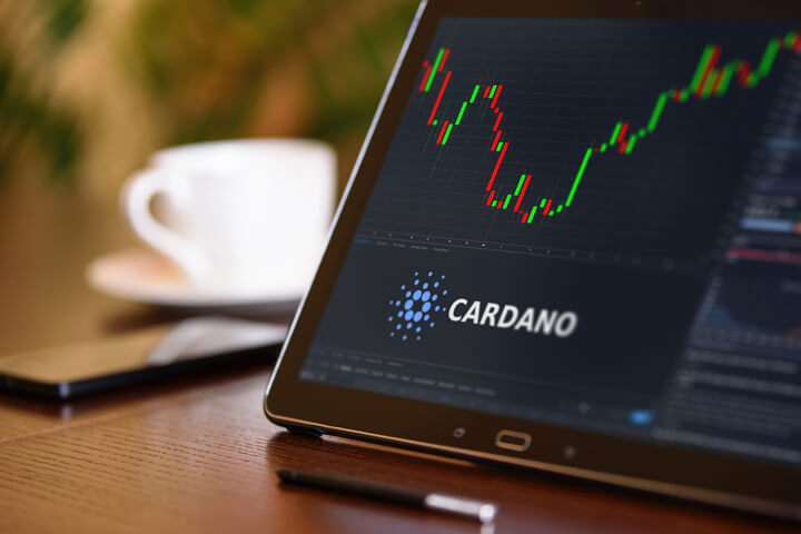 Tablet on desk with coffee cup and cell phone showing Cardano cryptocurrency logo and stock price candlestick chart