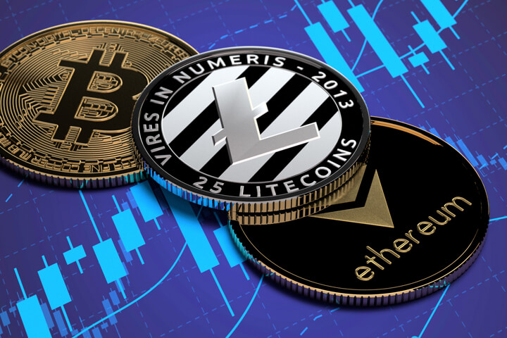 Ethereum, Litecoin, and Bitcoin on blue stock price candlestick chart