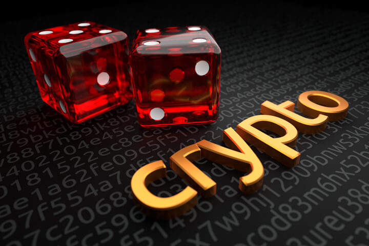 String of encrypted code with extruded metallic crypto with two large dice in background