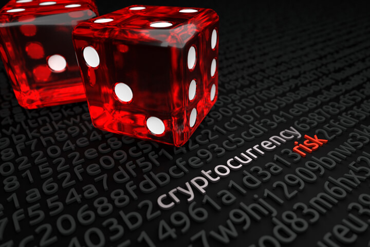 Two large red dice on blockchain or encryption key background with cryptocurrency risk text deciphered in string