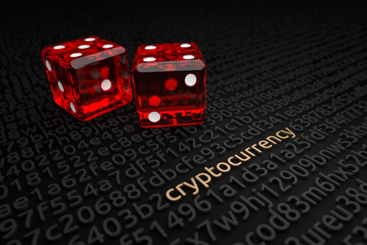 String of encrypted code with word cryptocurrency deciphered and two red dice in background symbolizing cryptocurrency investment risk