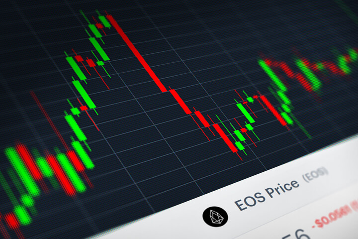 EOS crytocurrency stock price candlestick chart monitor screenshot showing volatility and price increases and declines