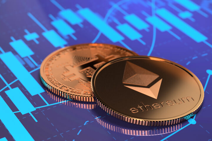 Ethereum coin and Bitcoin on stock price candlestick chart