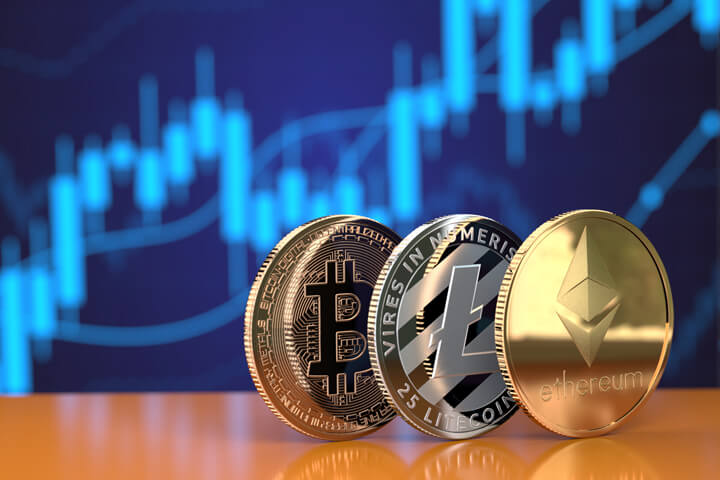Ethereum, Litecoin, and Bitcoin on edge in front of stock price candlestick chart