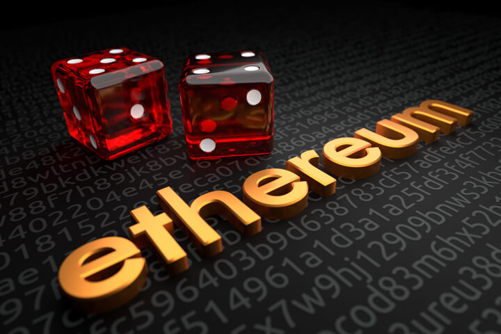Metallic extruded ethereum text on encrypted code background with two dice representing ethereum investment risk