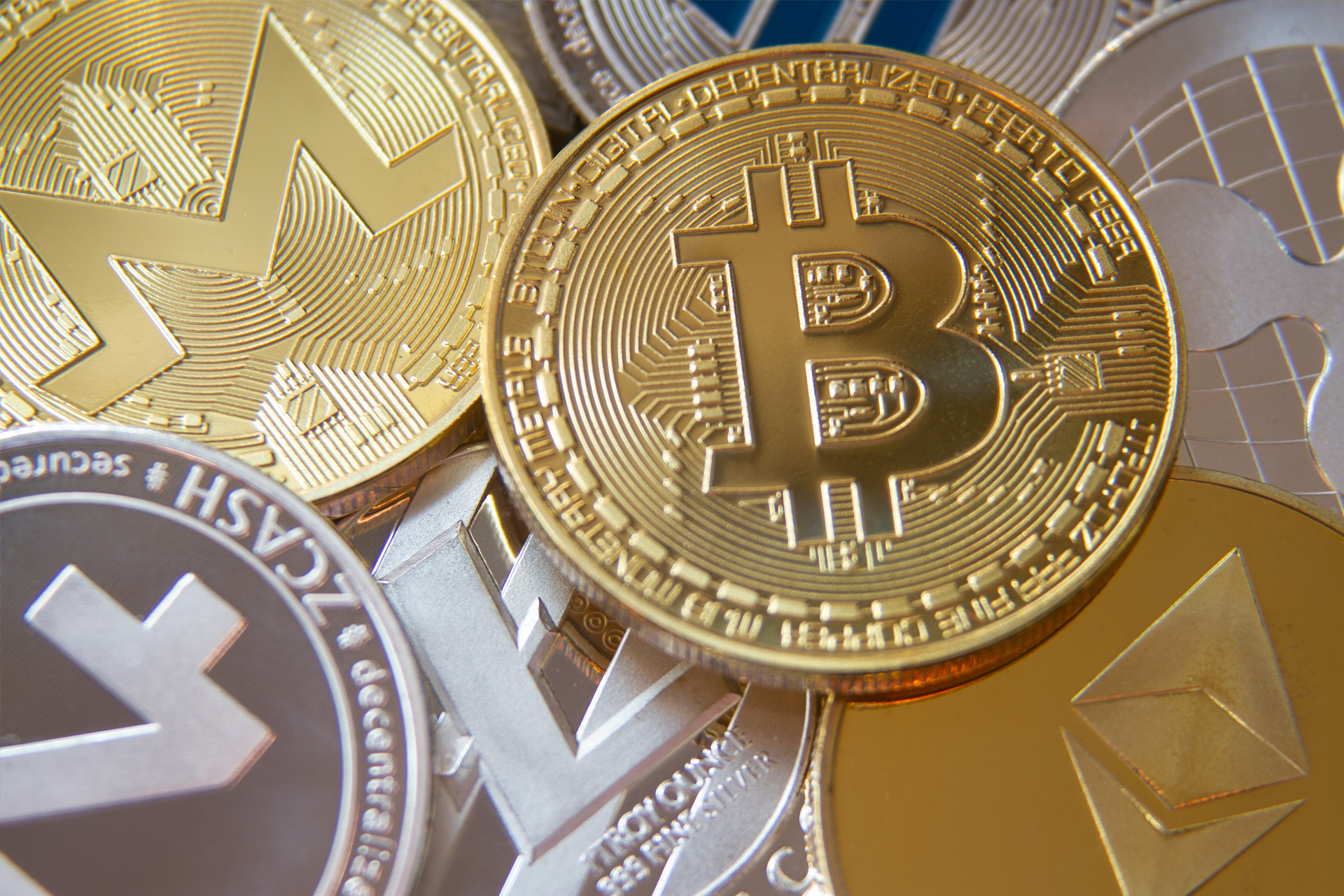 cryptocurrency coins view from top free image download