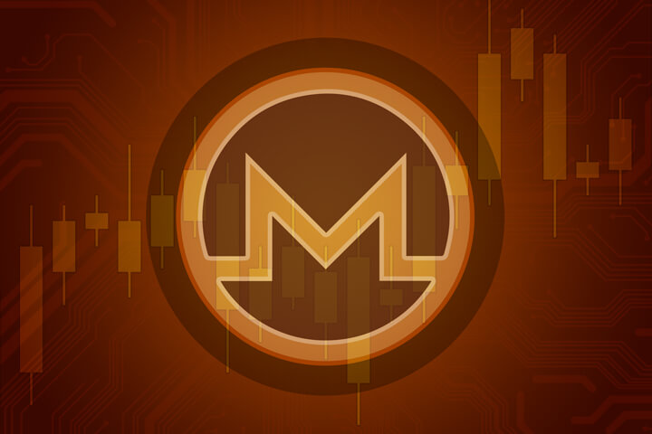 Monero cryptocurrency token overlaid on stock price candlestick chart and subtle circuit background