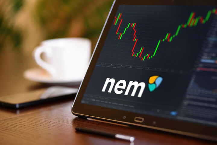 Tablet on desk with coffee cup and cell phone showing Nem cryptocurrency logo and stock price candlestick chart