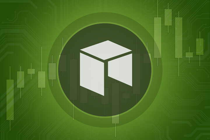 Neo cryptocurrency token overlaid on stock price candlestick chart and subtle circuit background