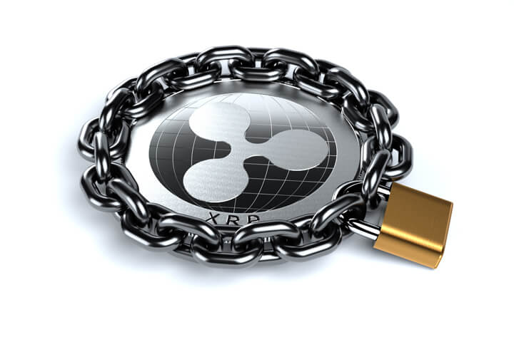 Ripple XRP coin wrapped in heavy chain and locked with brass padlock