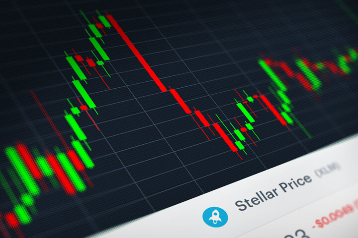 Stellar (XLM) stock price candlestick chart monitor screenshot showing volatility and price increases and declines