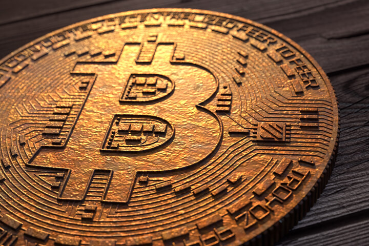 Tarnished Bitcoin with slightly corroded copper surface texture