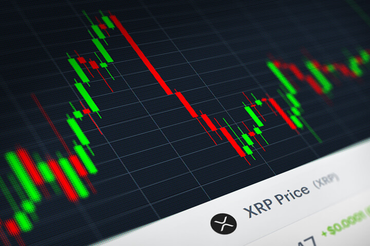 Ripple (XRP) stock price candlestick chart monitor screenshot showing volatility and price increases and declines