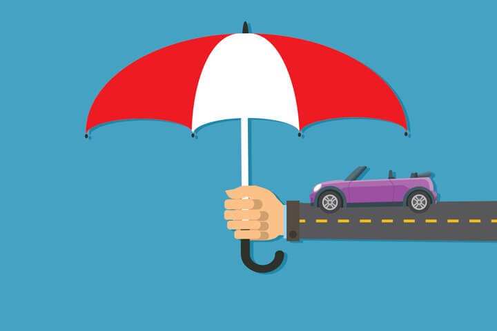 Long arm holding insurance protection umbrella over purple convertible on street