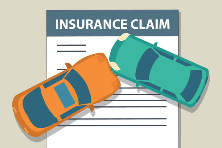Auto insurance claim form with two cars colliding on top flat concept image