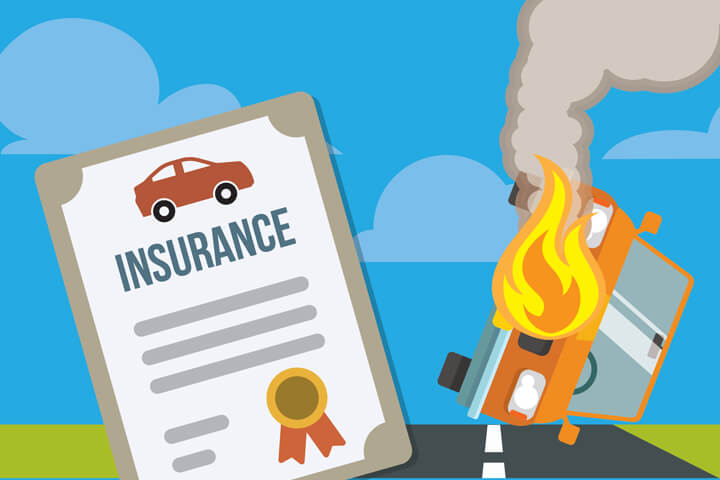 Car overturned on fire next to car insurance policy flat concept image