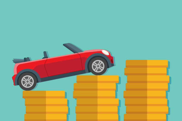 Small red convertible driving up increase stacks of gold coins flat concept image for increasing price of car insurance