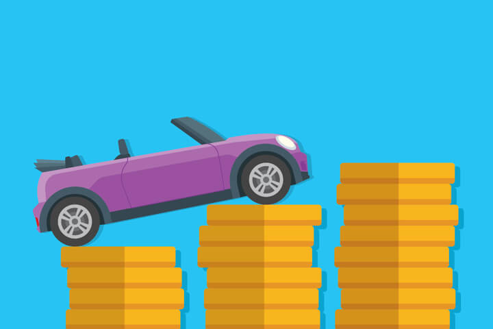 Small purple convertible driving up increase stacks of gold coins flat concept image for increasing price of car insurance with blue background