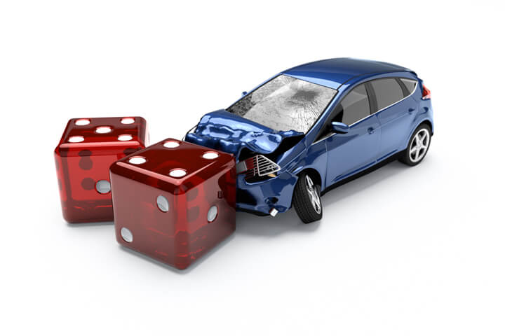 Concept image for insurance risk or taking chances on being uninsured