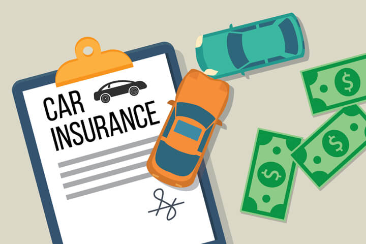 Two cars crashed on clipboard holding car insurance policy with cash to the side flat concept for the cost of repairs or deductible