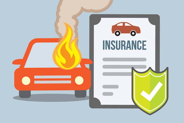 Car insurance policy and shield next to car on fire flat concept for fire peril coverage