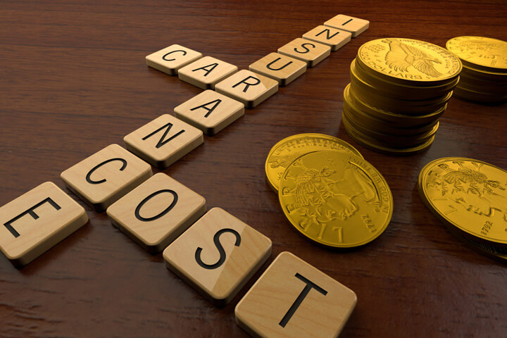Car insurance cost spelled in wood letters with stacks of gold coins