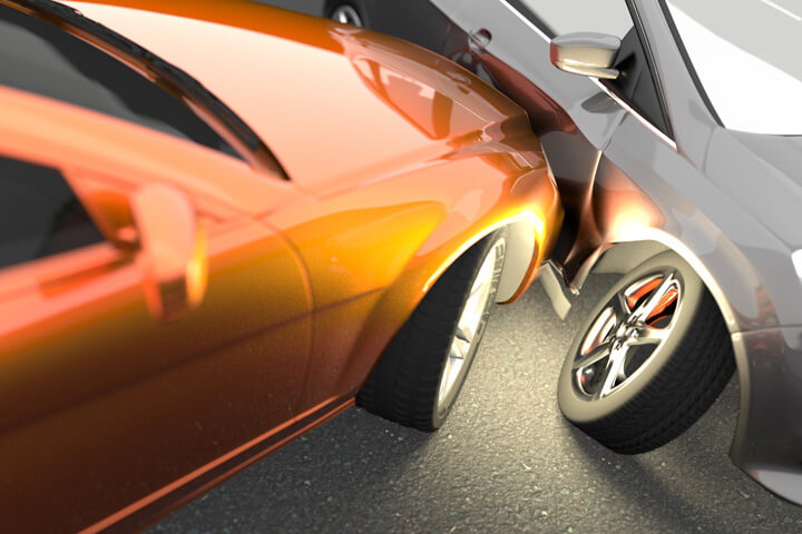 Stylized free photo of two cars in collision showing damage