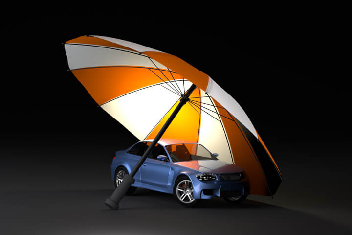 Car insurance protection concept of blue car under orange and white umbrella with dark background