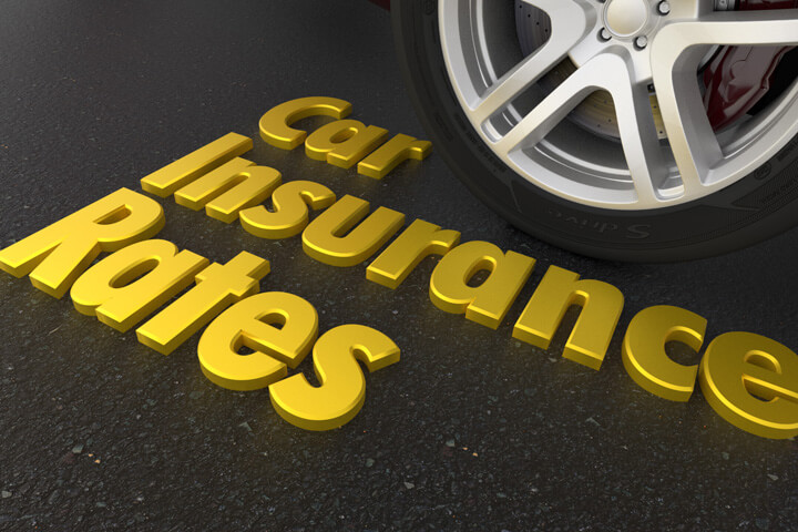 Shiny gold car insurance rates text next to sports car tire and wheel