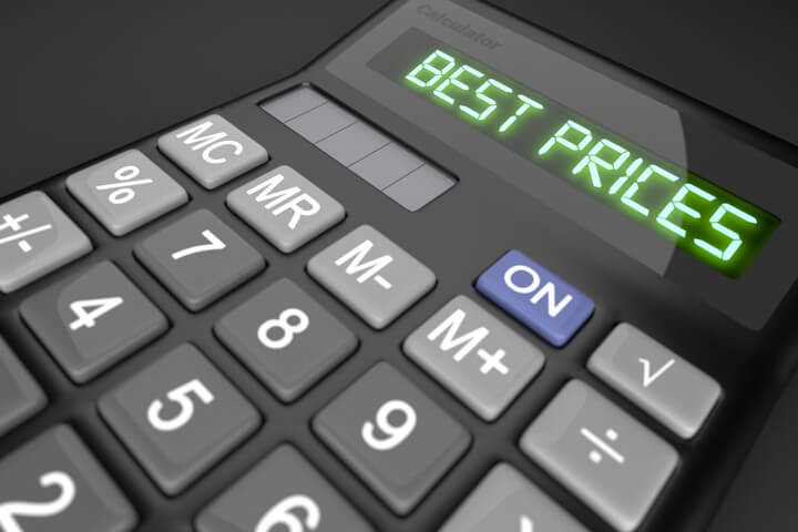 Calculator showing Best Prices LCD text to illustrate best price or low cost concept