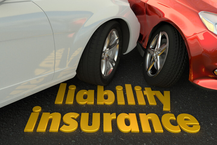 Two car accident showing words liability insurance in foreground