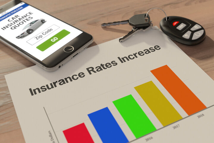 Insurance rates increase chart on desk with iphone and car keys