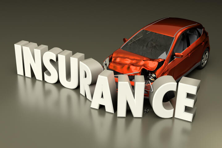 Concept of car crashed into insurance word with displaced letters