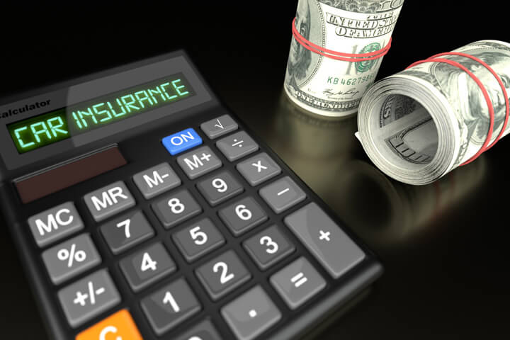 Calculator with LCD reading Car Insurance with two rolls of one hundred dollar bills