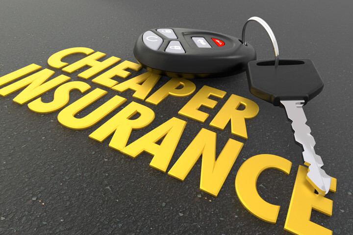 Shiny gold Cheaper Insurance words on asphalt with car key and key fob