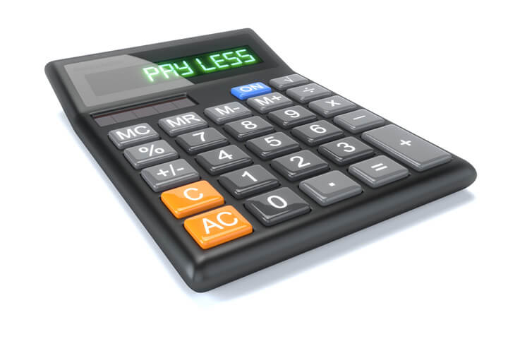 Calculator isolated on white with LCD text Pay Less