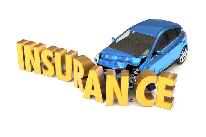 Car crashing into insurance word concept isolated on white background