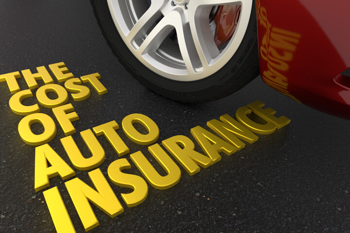 Shiny gold text The Cost of Auto Insurance on road next to sports car
