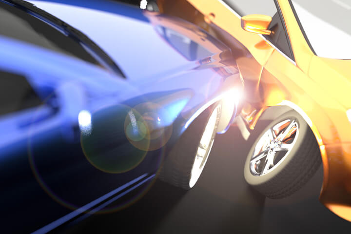 Two car accident with lens flare added