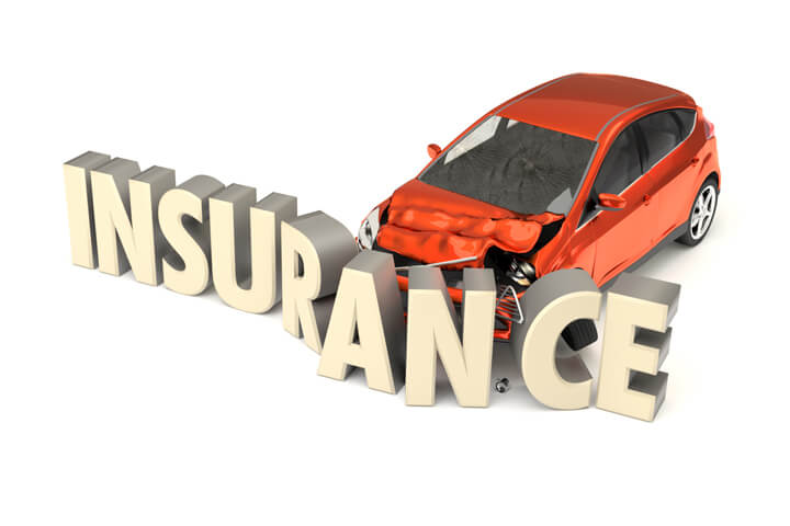 Car insurance concept image of compact car in accident with insurance letters isolated on white background
