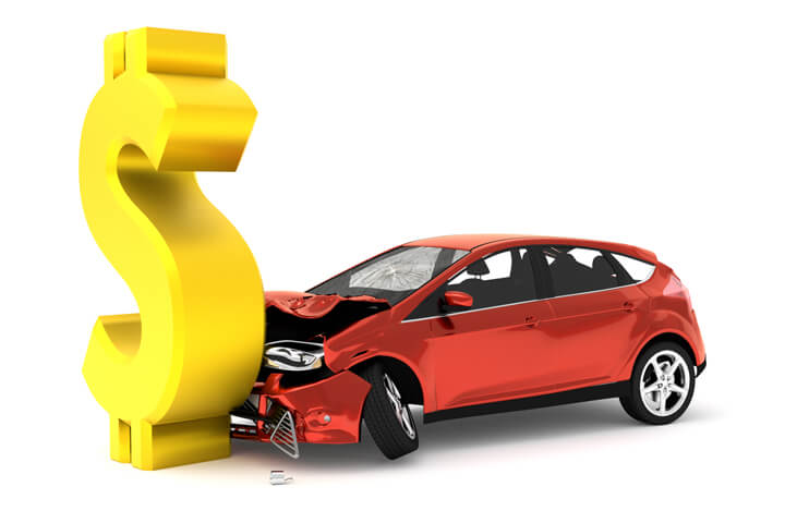 Car insurance accident concept image with large dollar sign and red compact car