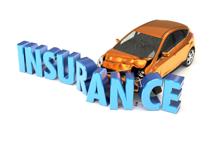 Car insurance concept of car crashing into insurance word isolated on white background