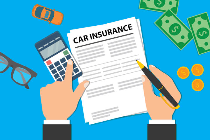 Desk with car insurance policy, money, glasses, toy car, and calculator with business man hands holding pen and touching key on calculator blue background