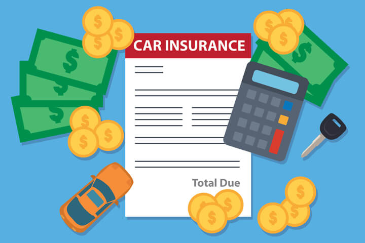 Car insurance bill with calculator, toy car, car key, and money flat concept for expensive auto insurance or budgeting