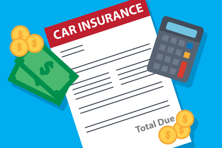 Car insurance bill with calculator, bills, and coins flat concept for cost of car insurance or premium price