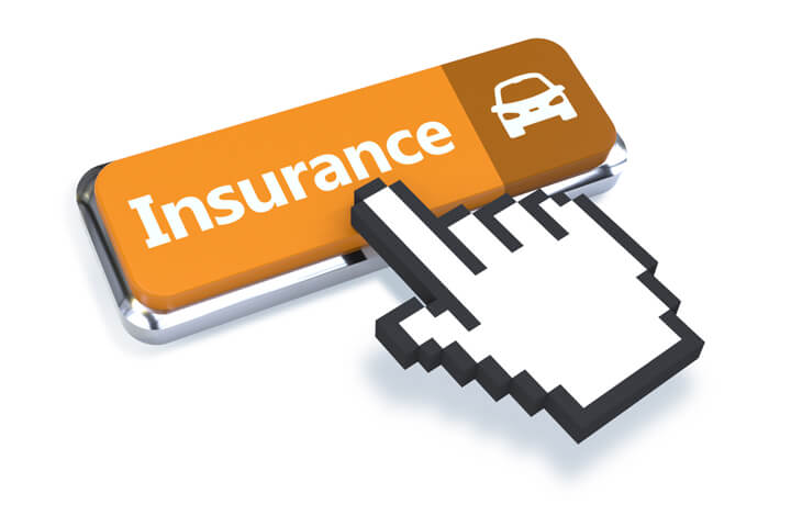 3D mouse pointer with gold car insurance button