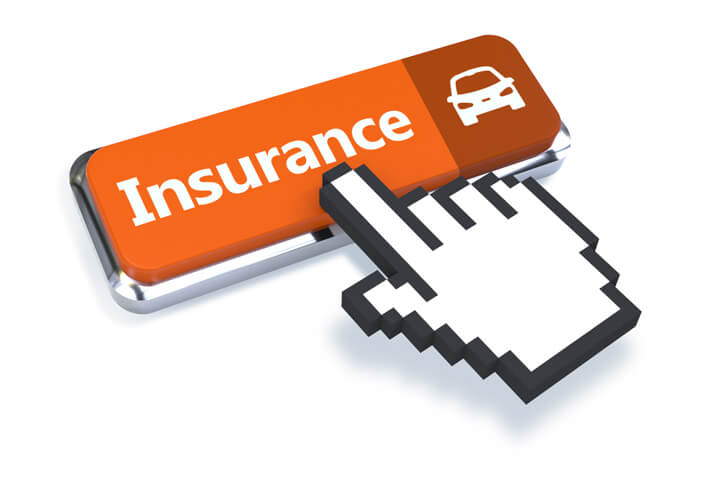 3D mouse pointer with orange car insurance button