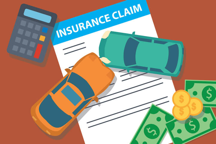 Insurance claim form with two car collision concept with calculator and cash and coins concept for payment of a car insurance claim on dark orange background