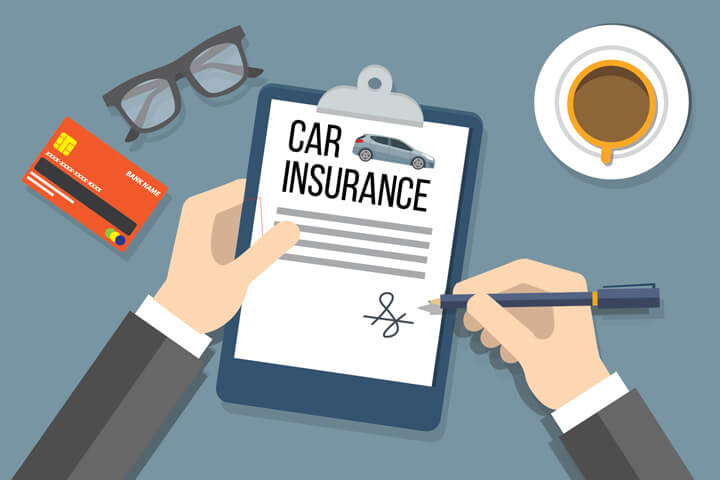 Hands holding and signing car insurance policy on clipboard with glasses, credit card, and coffee cup on desk flat concept image