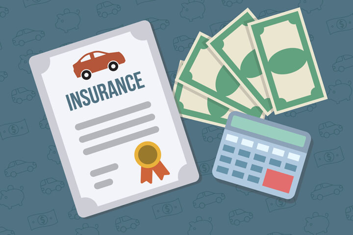 Car insurance policy with fanned money and calculator flat concept for car insurance savings or lowest price